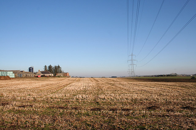 Woodhead Farm to the left of the power lines