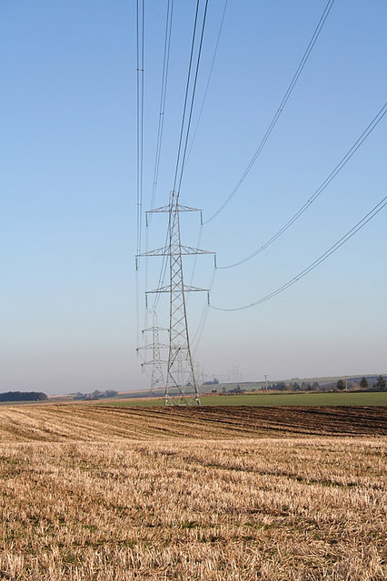 Power lines to the west of Woodhead farm