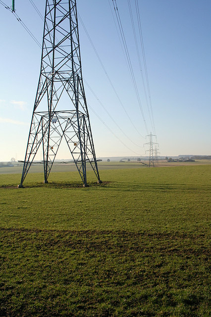 Eastbound pylons near Woodhead Farm
