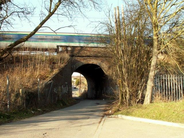 Railway bridge viewed from Harold Court Woods