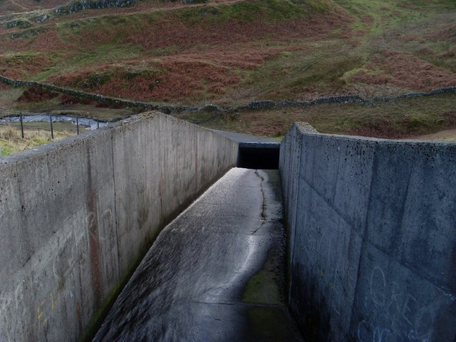 Looking down the reservoir spillway