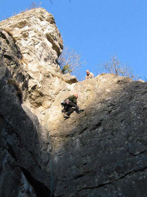 Rock climbing at Stoney Middleton