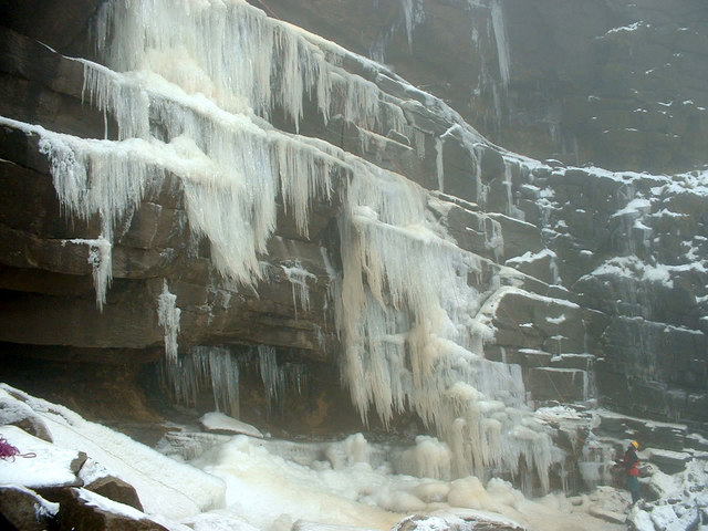 Ice climbing on Kinder Downfall