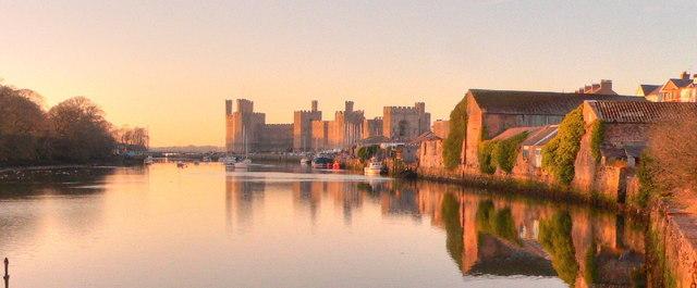 Caernarfon Castle on a February Evening