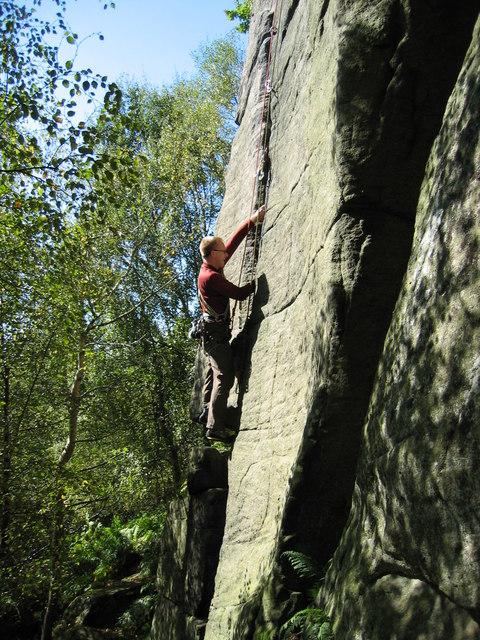 Rock climbing on Rivelin Edge