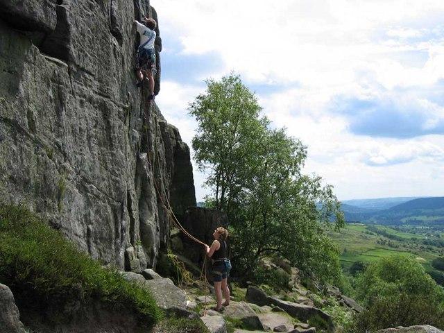 Rock climbing on Curbar Edge