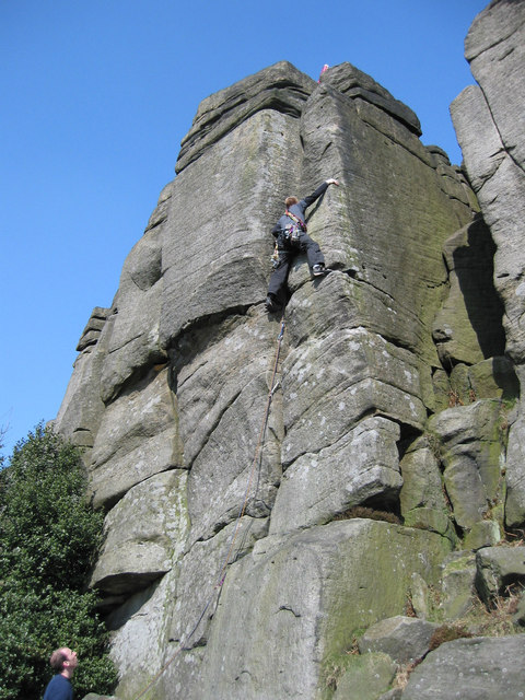 Rock climbing on Burbage Edge