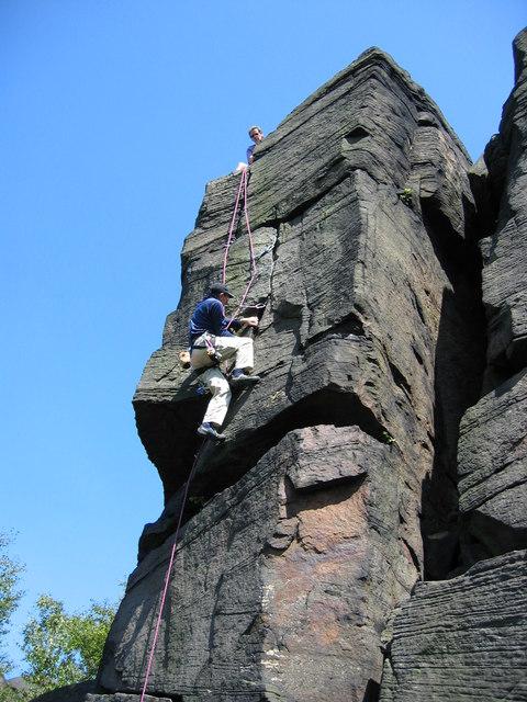 Rock climbing on Wharncliffe crag