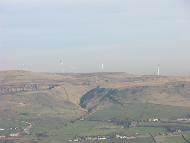 Scout Moor Wind Farm from Pilgrims Cross