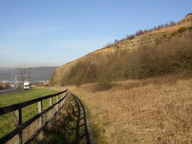 Footpath alongside the A629, Elland