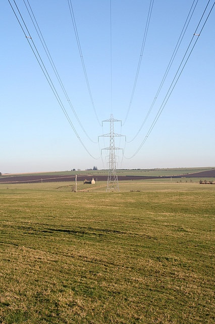 Under the power lines looking eastwards by Eastfield Farm