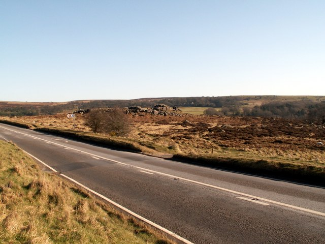 The A6187 looking to the rocks at Owler Tor