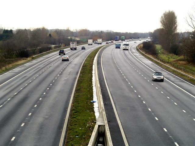 The M62 Motorway looking westwards