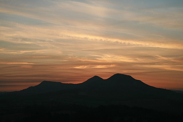 The Eildon Hills at dusk