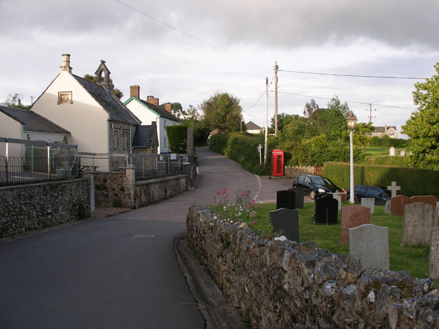 Offwell : Village School, Churchyard and Road to Widworthy Court 2007