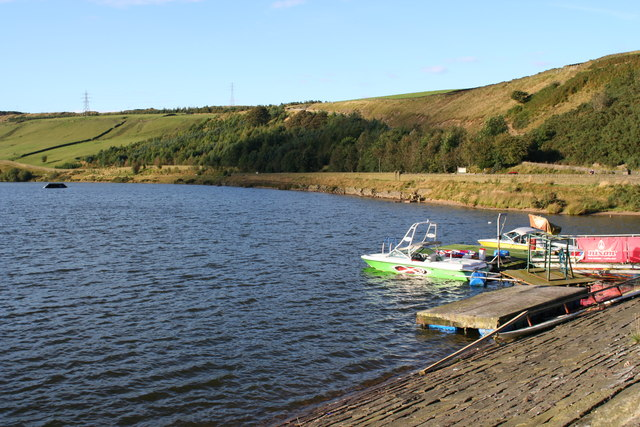 Cowm Reservoir and Water Ski Boats