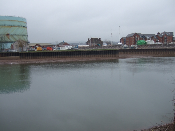 Entrance to Exeter Canal from Exe, reduced flow