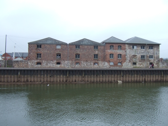 Warehouses between Exe & canal basin & quay