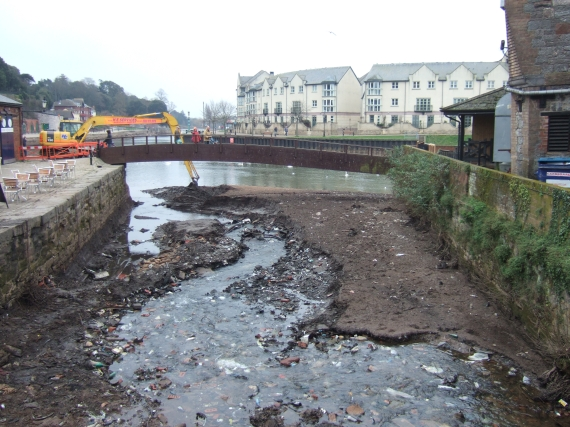 Stream bed, former leat, Exeter quay