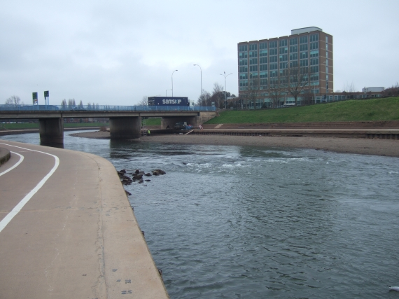 River Exe and bridge, reduced flow