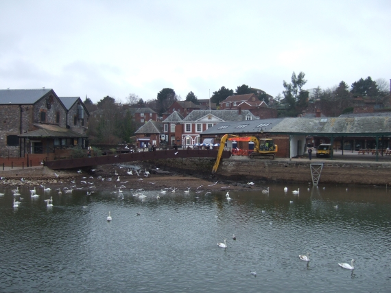 Lowered flow in Exe and leat, quayside buildings