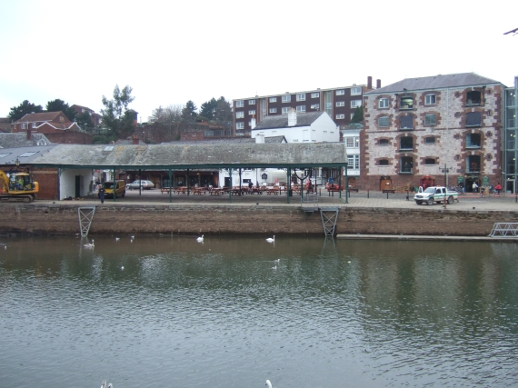 Exeter quayside, reduced flow