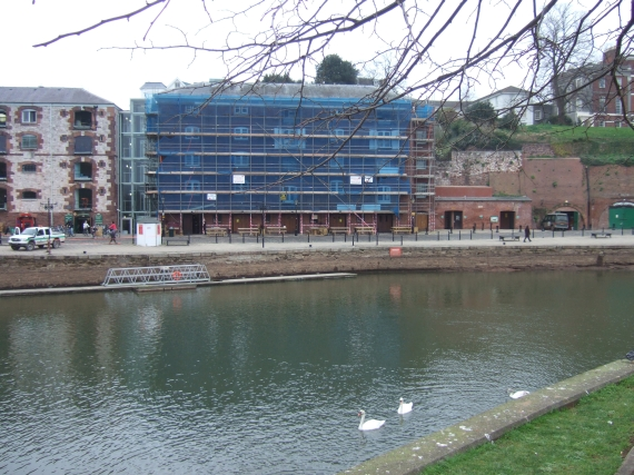 Warehouse, Exeter quay, reduced river flow