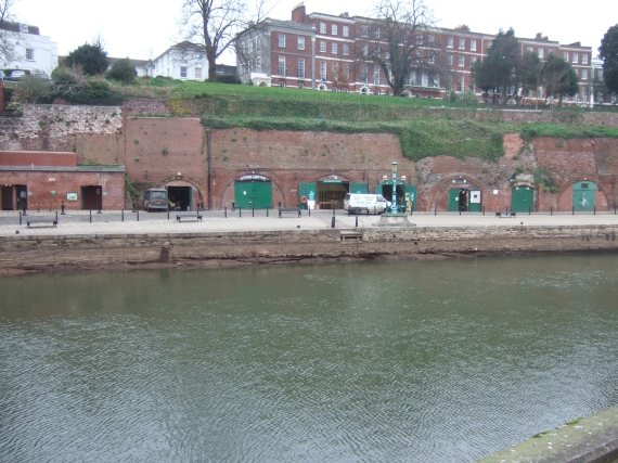Colleton Crescent, storage cellars and Exeter quay