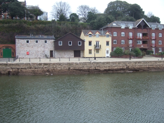 Modern buildings on Exeter quay, river level reduced