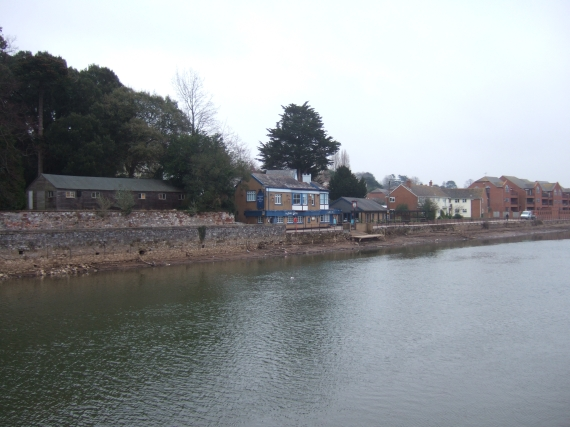 Port Royal Inn, River Exe in reduced flow