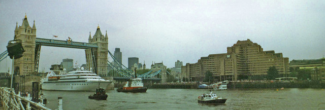 Tower Bridge with the Tower Hotel, London