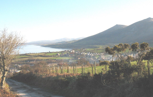 The village of Trefor and Trefor Bay from the Quarry incline