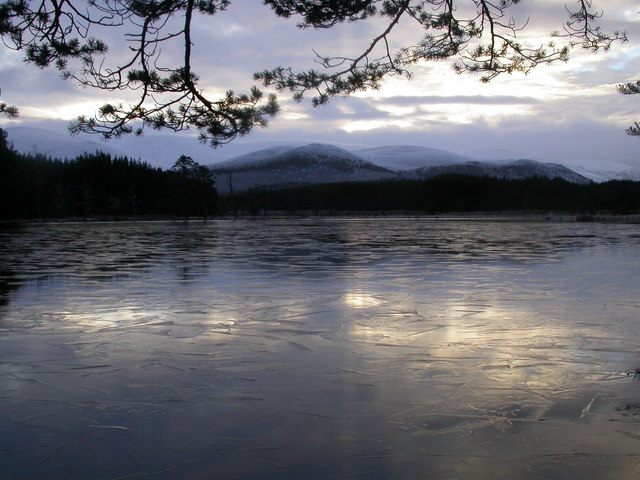 Uath Lochan under a  thin layer of ice