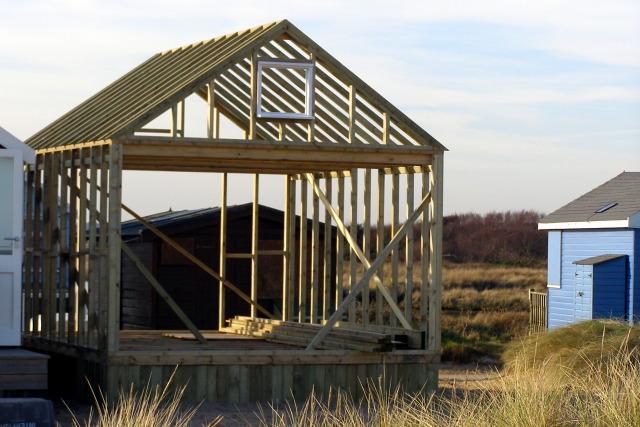 Beach hut under construction