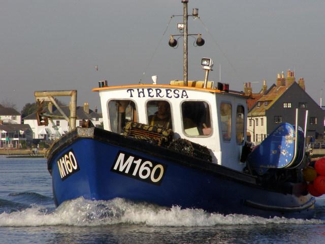 Returning fishing boat, Christchurch Harbour