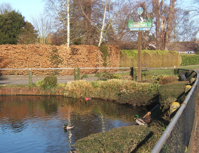 Pond and appropriate village sign, Rushmere St Andrew