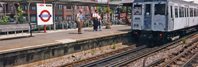 Metropolitan Line underground train at Amersham Station, Buckinghamshire