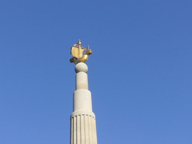 The Golden Galleon at top of Royal Naval Patrol Service Memorial