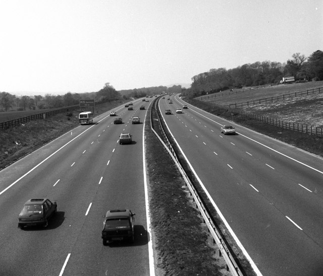 The M25 motorway in 1990