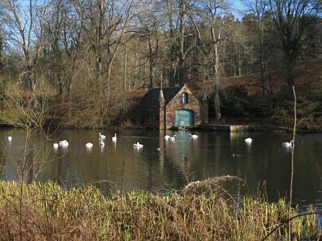Boat house and waterfowl at Fyvie Castle
