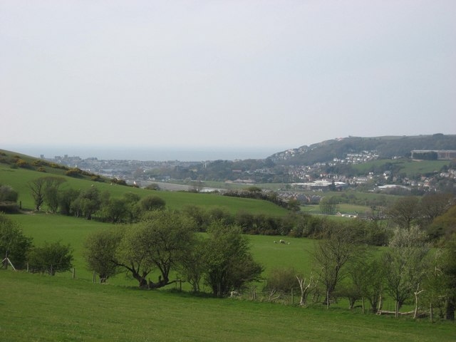 View of Aberystwyth and the sea, looking NW from the A4120