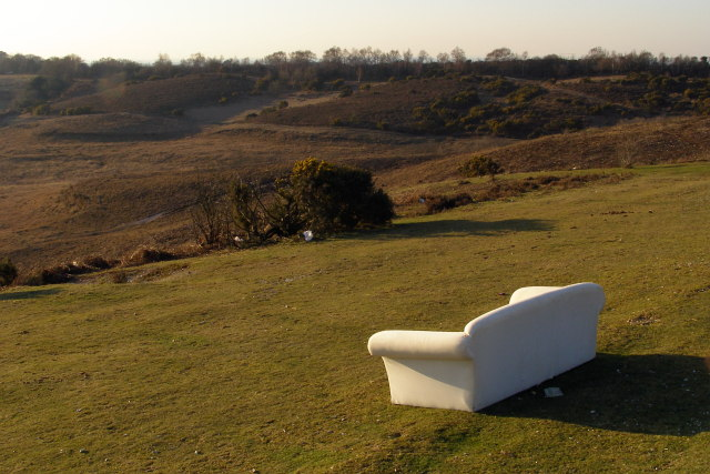 Abandoned sofa, Picket Post viewpoint, New Forest