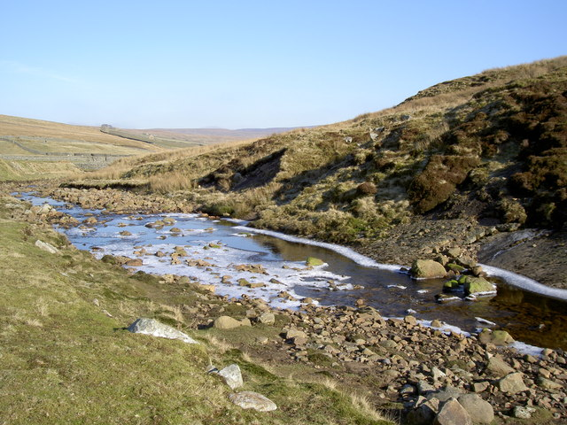 Ice forming on Great Sleddale Beck