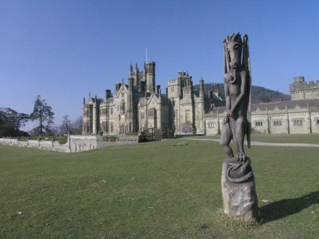 Margam Castle and a carving of a dragon