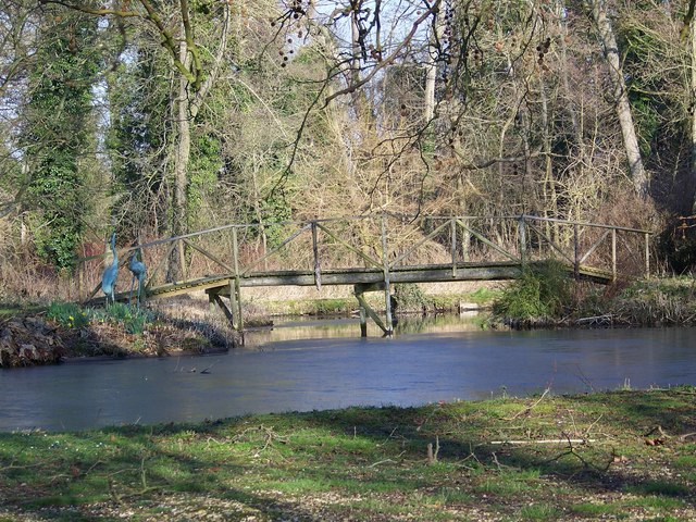 Pond and ornamental bridge, Little Durnford Manor