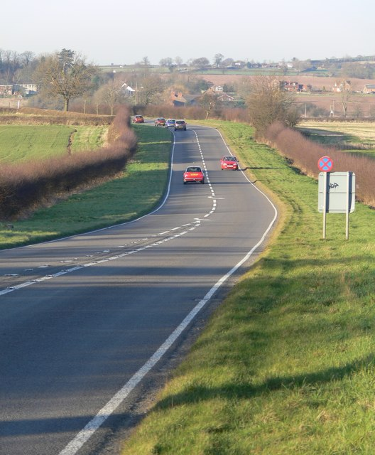The A444 Atherstone Road towards Sibson