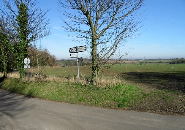 Looking NE across fields from road junction at Ham