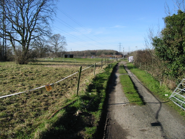 Looking NW along farm track from Hay Lane