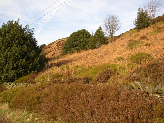 Steep hillside at New Dean House, Stainland