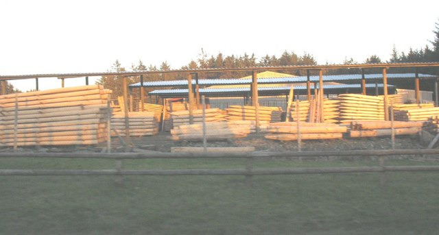 Fencing pole stacks at Glasfryn Fencing and Sawmill
